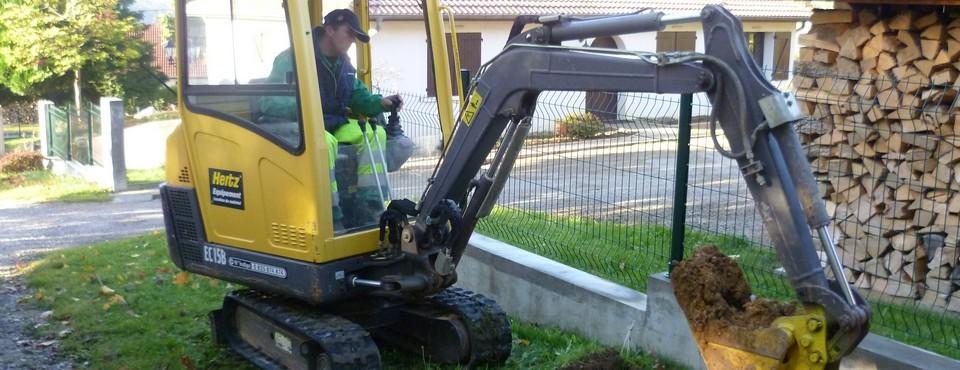 Préparation d'un chantier de réparation de fuite d'eau le 26 octobre 2010